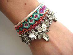 Bohemian hippie rhinestone friendship bracelet cuff by OOAKjewelz, $115.00