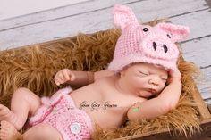 Crochet Pig Hat and Diaper Cover Farm Animal by PeaPodProps, $32.00