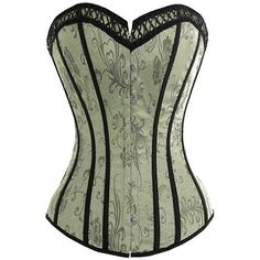 Victorian silver green corset (A3034) ❤ liked on Polyvore featuring corsets, tops, lingerie and shirts