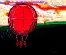 Red hot air balloon over landscape - digital painting. Air Balloon, Balloons, Aluminium Sheet, Weird Creatures, Got Print, Tag Art, Wooden Frames, Fine Art America, Pattern Design