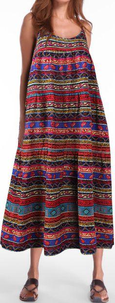 US$ 23.76 Gracila Bohemian Printed Spaghetti Strap Vintage Maxi Dresses