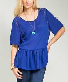 Another great find on #zulily! Royal Blue Lace-Panel Peplum Top - Plus #zulilyfinds