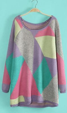 Geometric mixed color knitted loose sweater purple