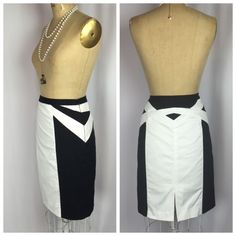 Express Black White Geometric Colorblock Pencil Skirt 12 | eBay