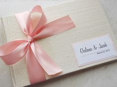Ivory and Light Pink Wedding Guest Book You by EnvelopeGuestBooks, $42.00