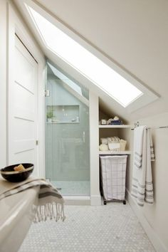 If you are looking for Small Attic Bathroom Design Ideas, You come to the right place. Below are the Small Attic Bathroom Design Ideas. This post about S. Small Attic Bathroom, Loft Bathroom, Tiny Bathrooms, Upstairs Bathrooms, Bathroom Interior, Bathroom Storage, Attic Storage, Bathroom Cabinets, Attic Shower