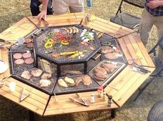 Octagonal wired table to place over your fire pit for mass barbecuing for parties. Store the table away after to enjoy the fire pit underneath.