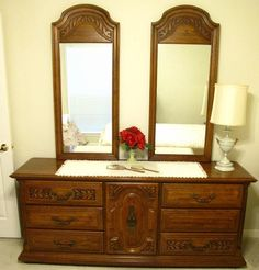 Sumter Furniture, Sumter S.C. Double Dresser W/ Double Mirrors.