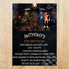 Printable Five Nights at Freddy's Invitation by EmbroideryLucky