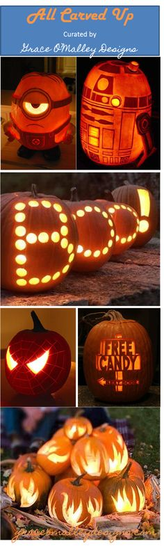 Grace O'Malley Designs: Collection of awesome carved pumpkins.