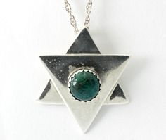 Vintage Israel Azurite Malachite Jewish Star Sterling Silver Pendant w/ Chain