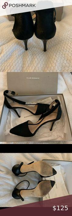 Club Monaco heels Black noir lula pump made in Italy. It has fur on the toe and heel Club Monaco Shoes Heels Sailor Jerry, Shoes Heels, Pumps, Club Monaco, Black Heels, Kitten Heels, Toe, Italy, Things To Sell