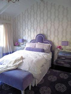 bam! purple bedroom!i like the ottoman
