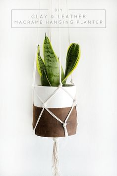 Clay & Leather Macrame Hanging Planter :: Monthly DIY Challenge - brepurposed