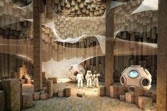 Fancy hunkering down in a basalt cavern on the Red Planet? On the menu in this vision by a German architecture firm: lots of asparagus.