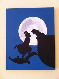 Original Acrylic Silhouette Painting of Aladdin and Jasmine on an 11 X 14 Canvas