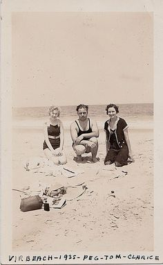 Vintage Antique Photograph People in Bathing Suits Sitting in Sand at Beach 1935