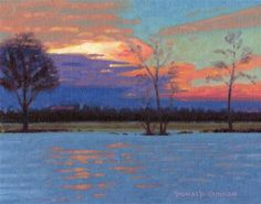 """Daily Paintworks - """"Winter Sunset"""" - Original Fine Art for Sale - © Donald Curran"""