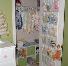 Good ideas for organizing a closet in the nursery.