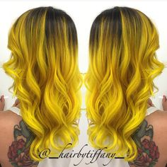 @_hairbytiffany_ #hotonbeauty #featurepage #beautymag #neonyellowhair Hot Beauty Magazine #pravana""