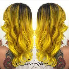 """@_hairbytiffany_ #hotonbeauty #featurepage #beautymag #neonyellowhair Hot Beauty Magazine #pravana"""""""