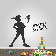 Peter Pan Shadow with Tinkerbell Wall Decal by taptapdesigns, £25.99