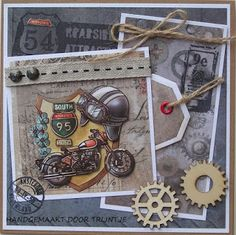 De Lage Hoeve: Mannenkaart 3d Cards, Masculine Cards, Stamp, Junk Journal, Motto, Man Card, Cards, Crafts, Birthday