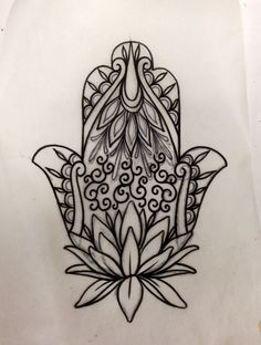 Hamsha tattoo with lotus at the base. I really would lovvvveeeee to get something like this.
