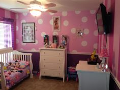 Minnie Mouse room- 2 walls Minnie polka dots & 2 walls 2-toned stripes from Minnie's Bow-Tique!