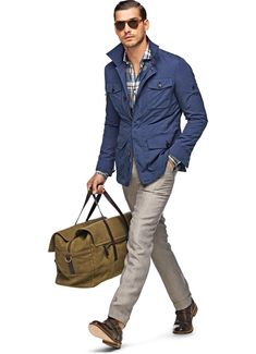 Navy Summer Coat from Suit Supply Mode Masculine, Suit Supply, Summer Coats, Casual Outfits, Men Casual, Casual Chic, Safari Jacket, Winter Mode, Field Jacket