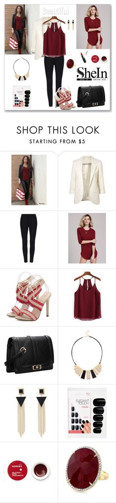 """Shein Chiffon Cami Top"" by ludmyla-stoyan ❤ liked on Polyvore featuring Elegant Touch, Korres, chiffon, top, burgundy, cami and shein"