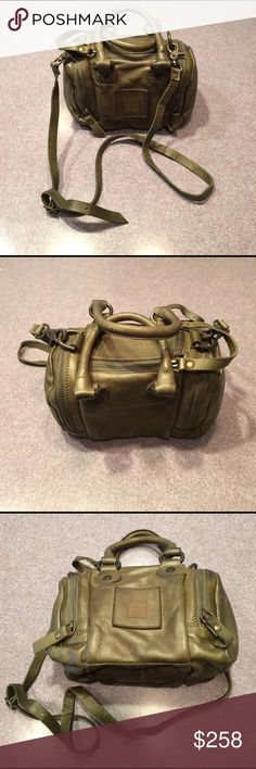 Frye Brook Small Satchel Olive NWT Frye Brook Small Satchel Olive. NWT. Fun, hard to find satchel with handles and removable strap for cross body use.  Zippered main compartment with two zippered end pockets. Antiqued brass hardware. Dust bag included. You will enjoy this purse! Frye Bags Satchels