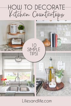 How to decorate your kitchen countertops- Ideas for kitchen countertop decor, organization using 10 simple tips! Kitchen Countertop Decor, Kitchen Tiles Design, Kitchen Cabinet Design, Home Decor Kitchen, Small Cottage Kitchen, Home Kitchens, Kitchen Wall Tiles, Modern Kitchen Design, Decor For Small Kitchen