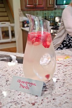 Champagne punch - It's basically strawberry slices, a bottle of champagne, and a can of Fresca. If you let the strawberries sit in the cup for awhile, they get all zippy, which makes them really fun to eat.