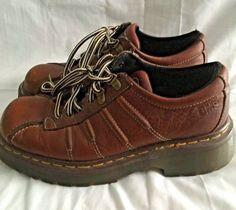 Dr. Marten's 9764 Shoe Oxford Brown Leather 4 Eyelet 2 D-ring Lace up Men 5.5 6 #DrMartens #Oxfords