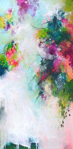 Original abstract painting modern art on wallpaper on