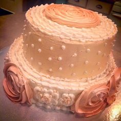 3 tier mini cake with buttercream flowers and pearls