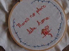 no place like home, embroidery feels very homey to me.