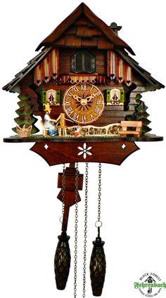 Cuckoo Clock - Quartz Chalet with Weaving Woman - Schneider - New 2014 Cuckoo Clocks!