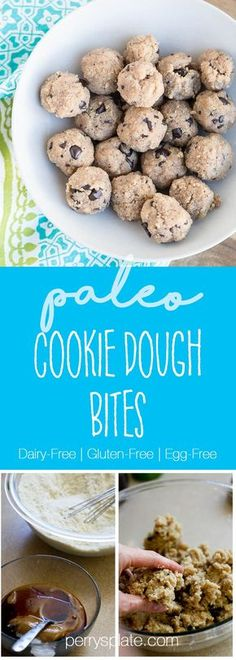 Paleo Cookie Dough Bites | paleo recipes | gluten-free recipes | paleo desserts | paleo snacks | perrysplate.com