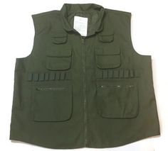 Vintage Duck Hunting Vest 2XL Bird Field 16 Gauge Zip Front Back Pouch Green  | eBay