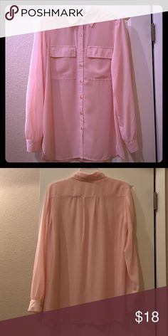 Spense sheer pink button down blouse Great condition! Worn only a couple times. Sz. M Spense Tops Button Down Shirts