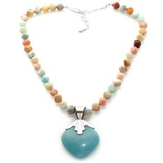 """Jay King Amazonite Sterling Silver Pendant with 18"""" Beaded Multigemstone Neckla at HSN.com"""