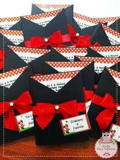 Convites Minnie em papel couche