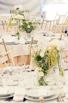The tables  for this white and light green mint wedding