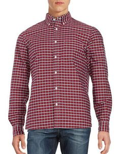 Brooks Brothers Checked Sport Shirt Men's Red XX-Large