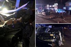 Man dies and woman is badly injured after out-of-control BMW crashes into 'several' front drives