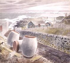 """""""Convoy Passing an Island"""" by Eric Ravilious, 1941 (painted on the Firth of… Landscape Paintings, Landscape Art, Landscapes, Travel Posters, Art Boards, Painting & Drawing, Illustration Art, Island, Fine Art"""