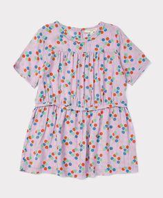 Caramel Baby Rosemary Dress, Sheer Lilac Dotty