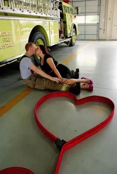 Firefighter engagement pictures- this is so cute i could throw up